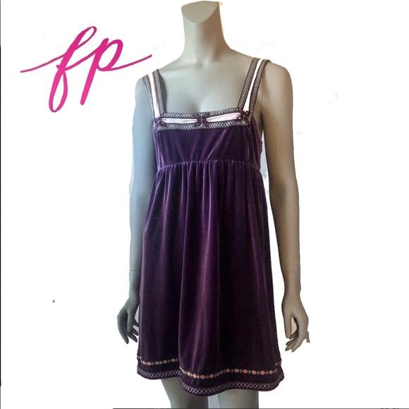 Free People Dresses & Skirts - Free People Purple Velvet Baby Doll Dress Large